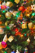 Decorated christmas tree background Stock Photos