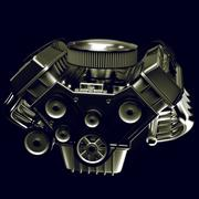 shiny motor isolated on black - stock illustration