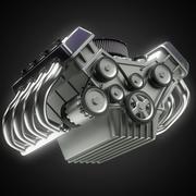 Shiny motor isolated on black Stock Illustration
