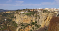 Sun light ronda famous panorama view 4k spain Stock Footage