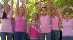 In high quality format smiling women in pink for breast cancer awareness Stock Footage