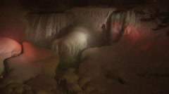 Niagara Falls Frozen Over,  Night Illumination 2015, View 6 Stock Footage