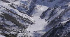 Spain day light ski and snowboard resort sierra nevada 4k panorama Stock Footage