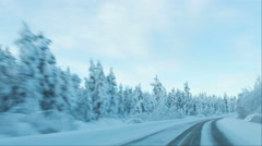 Timelapse of driving in snow winter conditions Stock Footage
