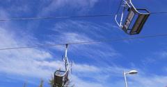 Sierra nevada blue sky ski lift close up 4k spain Stock Footage