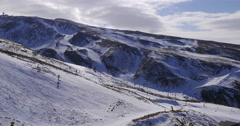 Sierra nevada day light early winter ski resort panorama 4k spain Stock Footage