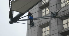 Window Cleaner in Paris La Defense Stock Footage