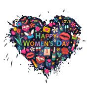 Stock Illustration of Womens Day on the background of colorful blots, inks