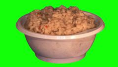 Boiled rice with vegetables in throwaway plate Stock Footage