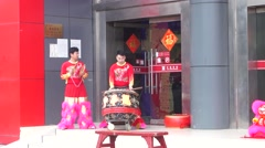 Chinese traditional lion dance activities Stock Footage