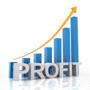 Profit growth chart, 3d render - stock illustration
