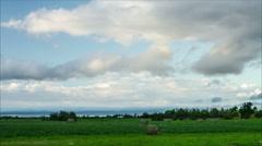 Hay Bales in an Open Field Timelape 720 Stock Footage