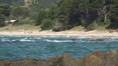 Typical coastal beach on Coromandel Peninsular, New Zealand Stock Footage