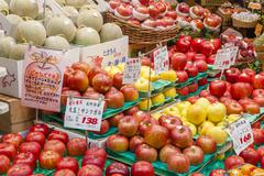 Fresh fruits in a greengrocery - stock photo