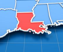 3d render of USA map with Louisiana state highlighted - stock illustration