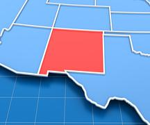 3d render of USA map with New Mexico state highlighted - stock illustration