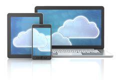 Cloud symbols on gadgets - stock illustration