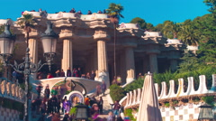 Park guell sun light main entrance 4k time lapse spain Stock Footage