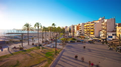 Sitges sun light beach bay 4k time lapse spain Stock Footage