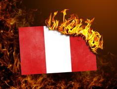 Flag burning - Peru Stock Photos