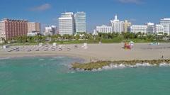 Aerial Miami Beach 30th Street Shoreline Clip 8 Stock Footage