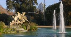 Barcelona sun light ciutadella park fountain 4k spain Stock Footage