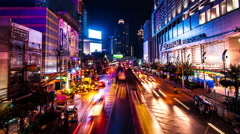 4K TimeLapse - Cars fast accelerated along the night road city Stock Footage