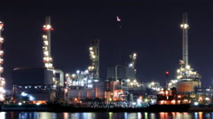 Stock Video Footage of zoom out oil refinery time lapse