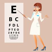 The doctor ophthalmologist examines your eyes - stock illustration