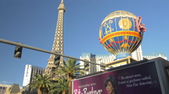 Stock Video Footage of The Amazing Paris Las Vegas Hotel, USA