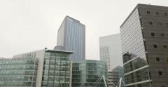Services Techniques Schlumberge and Technip Tower, La Defense Stock Footage