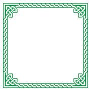 Celtic green frame, border pattern - vector Stock Illustration