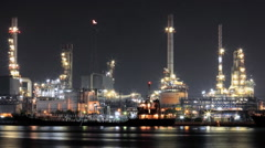 Time lapse oil refinery industry night Stock Footage