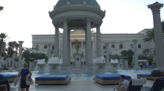 4K Woman at the Temple Pool, Caesars Palace, Las Vegas - stock footage
