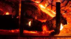 Closeup shot of a hot fire in a home fireplace Stock Footage