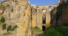 Sun light famous ronda puento nuevo bridge view 4k spain Stock Footage