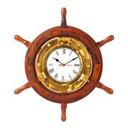 Clock in wood helm - stock photo