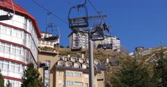 mountain resort day time hotel ski lift 4k spain sierra nevada - stock footage