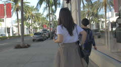 Shopping in the afternoon on Rodeo Drive, Beverly Hills Stock Footage