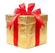 Concept gift - a gold box with a red bow - stock photo