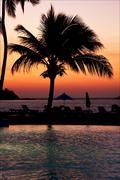 Pool sunset parasol  lagoon and coastline Stock Photos