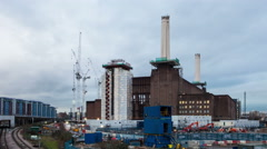 Battersea Power Station construction site time lapse WS 4K Stock Footage