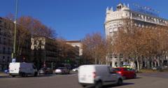 Madrid sunny day square main train station 4k spain panorama Stock Footage