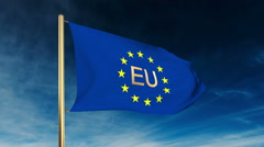 Europe flag slider style with title EU. Waving in the win with cloud background Stock Footage