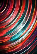 Bright segments curves strips consistently assembled to each other - stock illustration