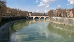 Landscape River Tiber Rome Roma Italia Italy City Monument View - stock footage