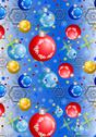 Stock Illustration of Christmas balls and snowflakes on a blue gradient background