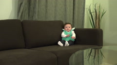Baby Lifestyle Glass Table Reflection Stock Footage
