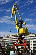 red yellow crane - stock photo