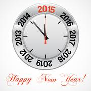 Vector  illustration of clock , red arrow specifies in a 2015 NEW YEAR Stock Illustration